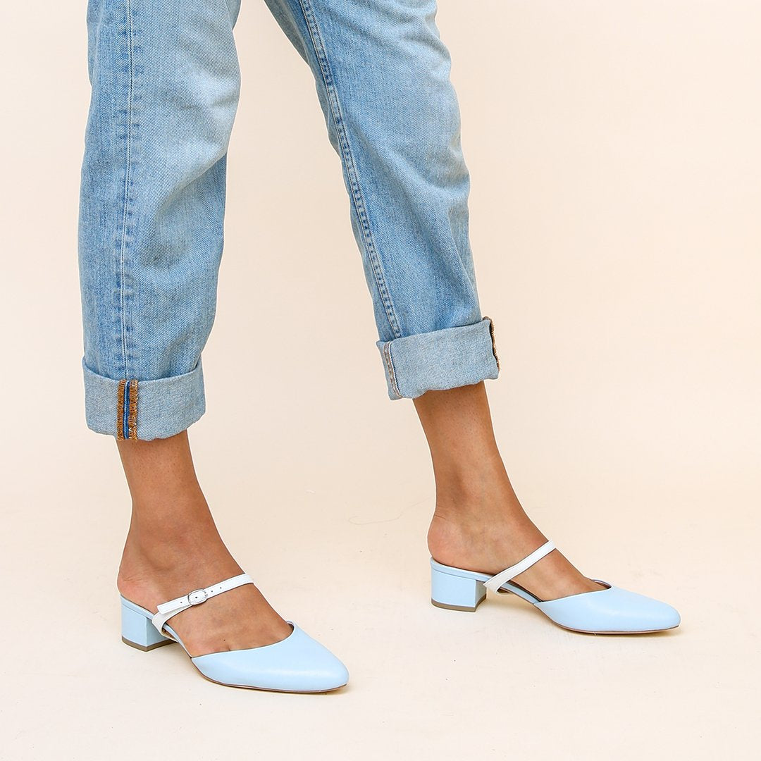 Agate Blue Personalized Womens Slides + White Twiggy Strap | Alterre Create Your Own Slide - Sustainable Footwear Brand & Ethical Shoe Company