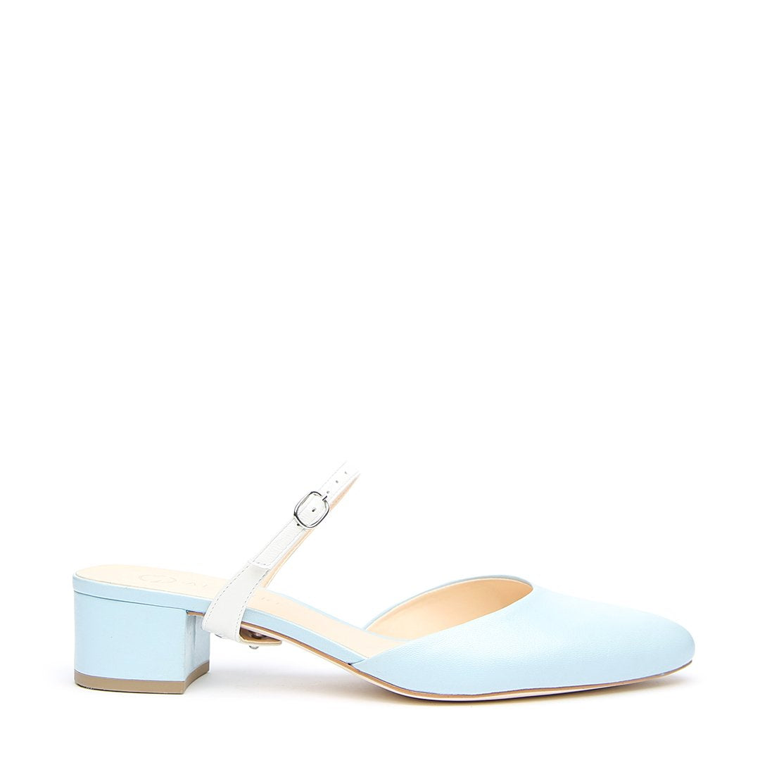 Agate Blue Slide + White Twiggy Customizable Slides  | Alterre Interchangeable Slides - Sustainable Footwear & Ethical Shoes