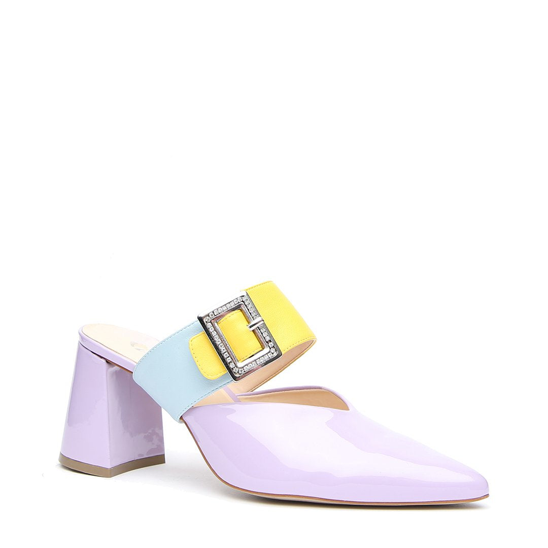Lilac Gloss V Mule + Agate Blue Grace Strap - Customized Mules | Alterre Make A Shoe - Sustainable Shoes & Ethical Footwear