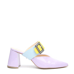 Lilac Gloss V Mule + Agate Blue Grace Strap - Customizable Mules  | Alterre Interchangeable Mule - Sustainable Footwear & Ethical Shoes