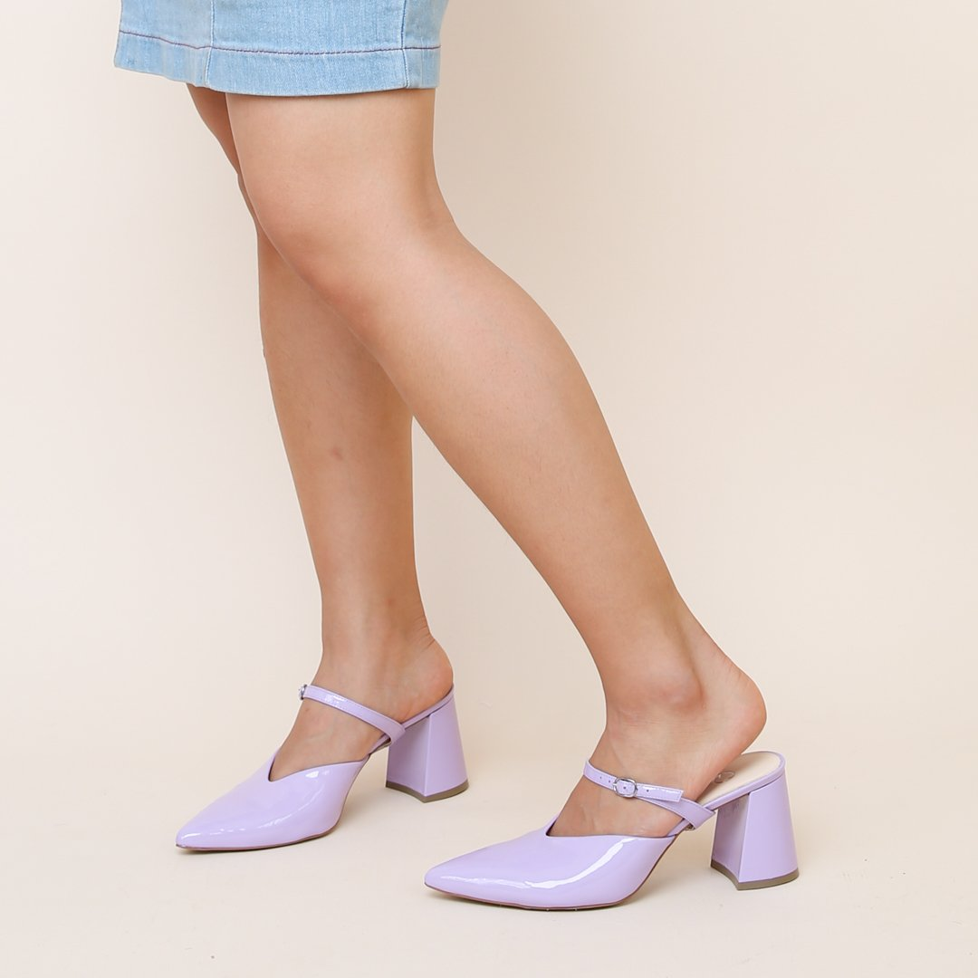 Lilac Gloss V Mule | Alterre Customize Your Own Mule - Intrechangable Shoe Brand & Ethical Footwear Company