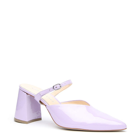 Lilac Gloss V Mule + Twiggy Strap - Customized Mules | Alterre Make A Shoe - Sustainable Shoes & Ethical Footwear