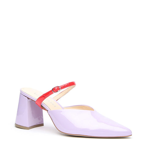 Lilac Gloss V Mule + Red Gloss Twiggy Strap - Customized Mules | Alterre Make A Shoe - Sustainable Shoes & Ethical Footwear