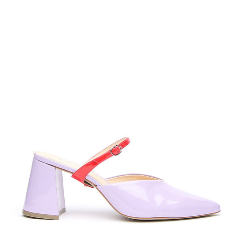 Lilac Gloss V Mule + Red Gloss Twiggy Strap - Customizable Mules  | Alterre Interchangeable Mule - Sustainable Footwear & Ethical Shoes