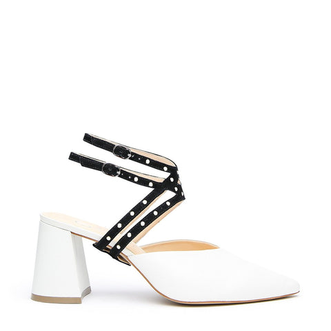 White V Mule + Studded Black Lozen Strap - Customizable Mules  | Alterre Interchangeable Mule - Sustainable Footwear & Ethical Shoes