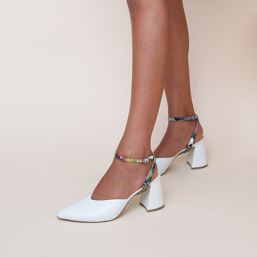 White V Mule with Acid Snake Marilyn Strap | Alterre Build Your Own Mule - Sustainable Shoe Brand & Ethical Footwear Company