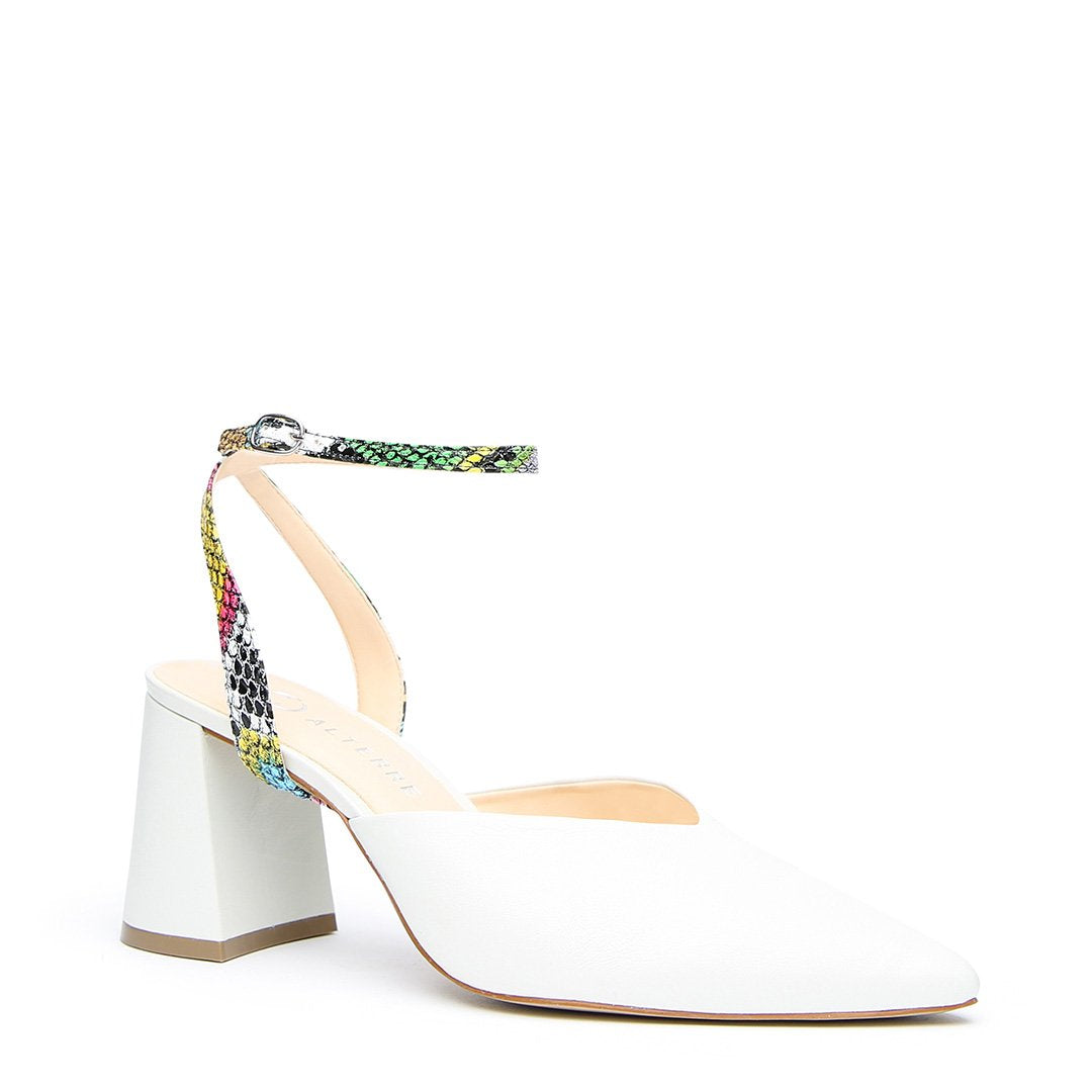 White V Mule + Acid Snake Marilyn Strap - Customized Mules | Alterre Make A Shoe - Sustainable Shoes & Ethical Footwear