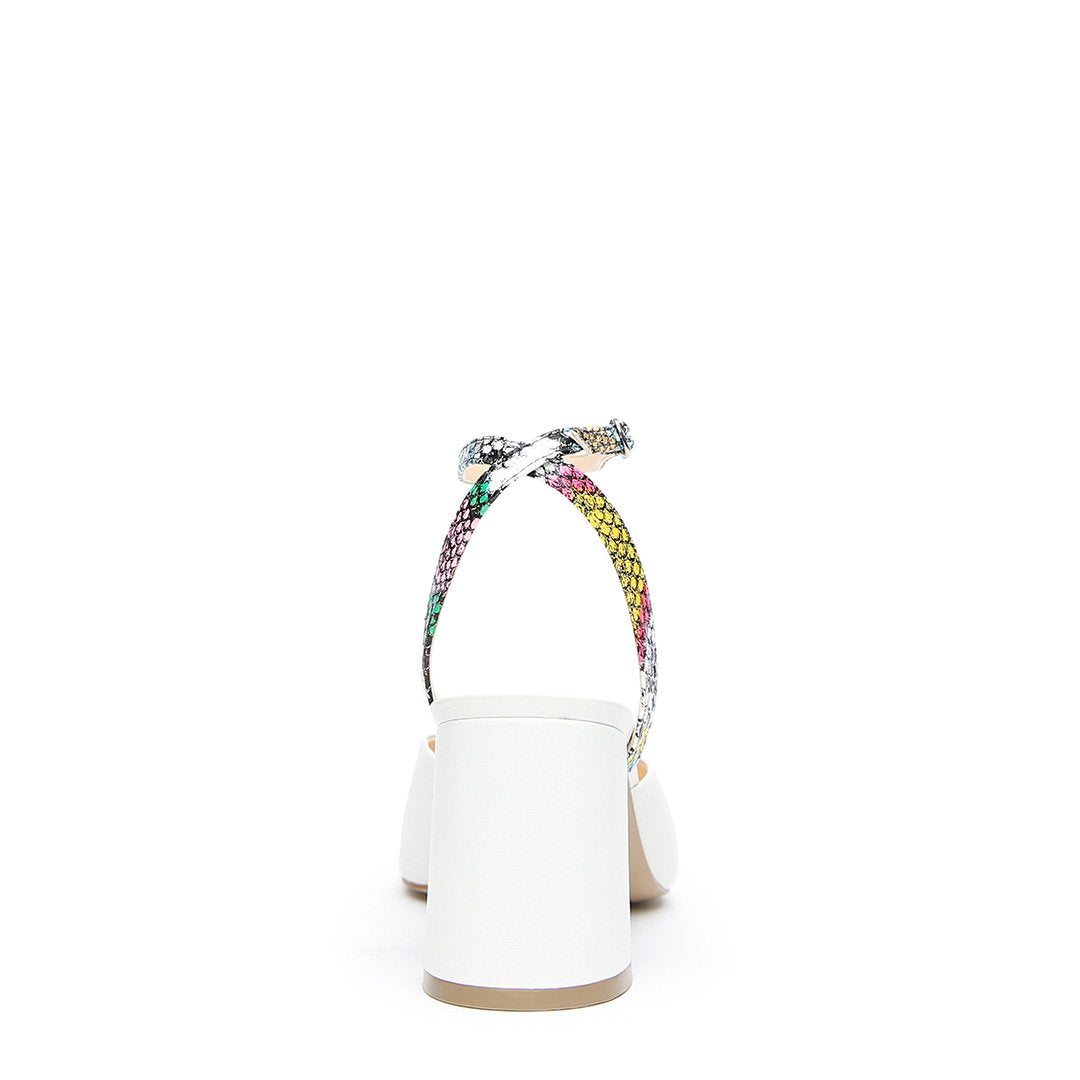 White V Mule + Acid Snake Marilyn Strap  | Alterre Create Your Own Mule - Sustainable Footwear Brand & Ethical Shoe Company