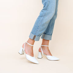 White V Mule with Marilyn Strap | Alterre Build Your Own Mule - Sustainable Shoe Brand & Ethical Footwear Company