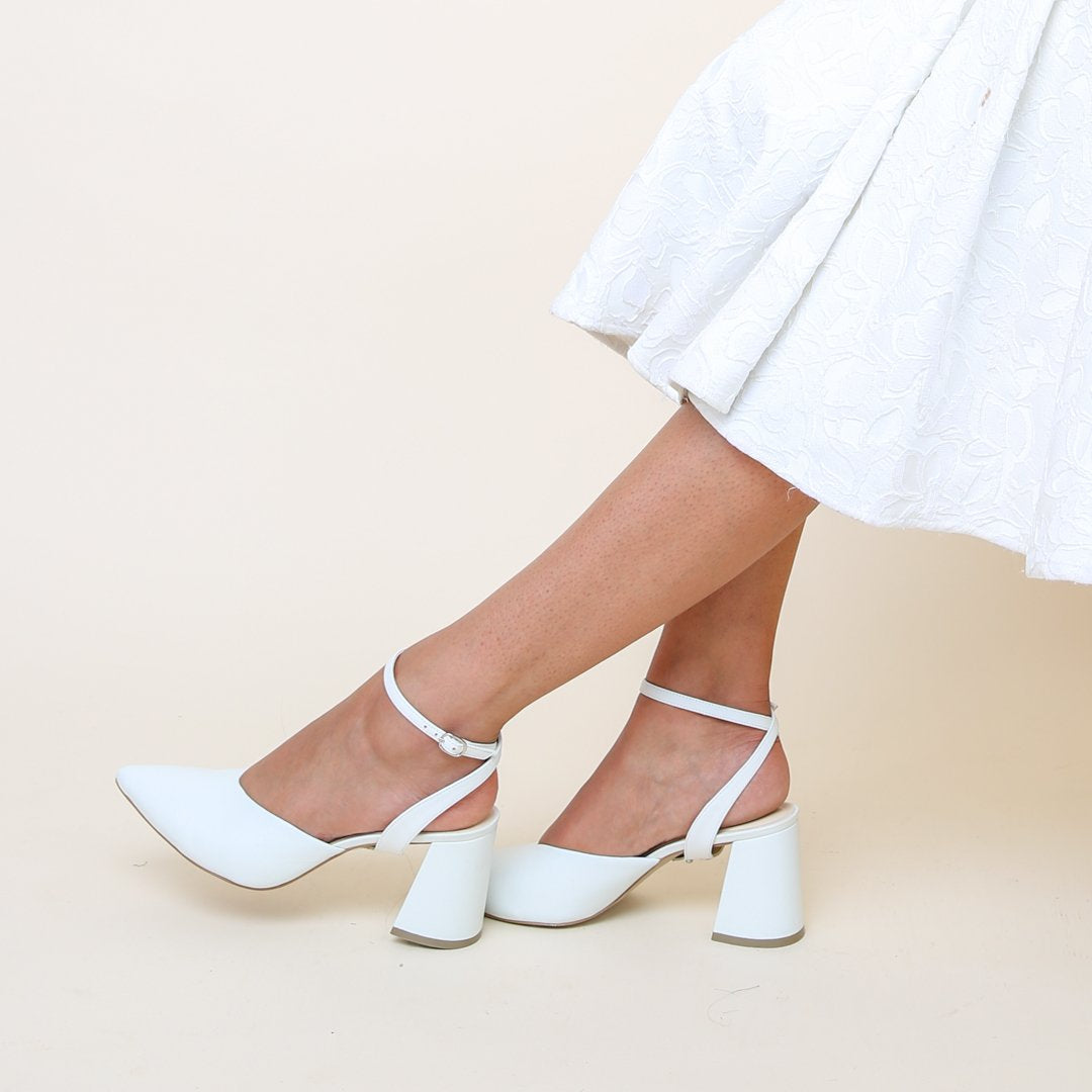 White V Mule + Marilyn Strap | Alterre Bridal Mules - Sustainable Women's Footwear