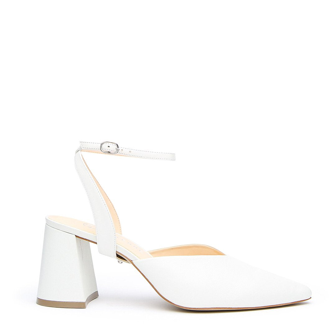 White V Mule + Marilyn Strap - Customizable Mules  | Alterre Interchangeable Mule - Sustainable Bridal Footwear & Ethical Shoes