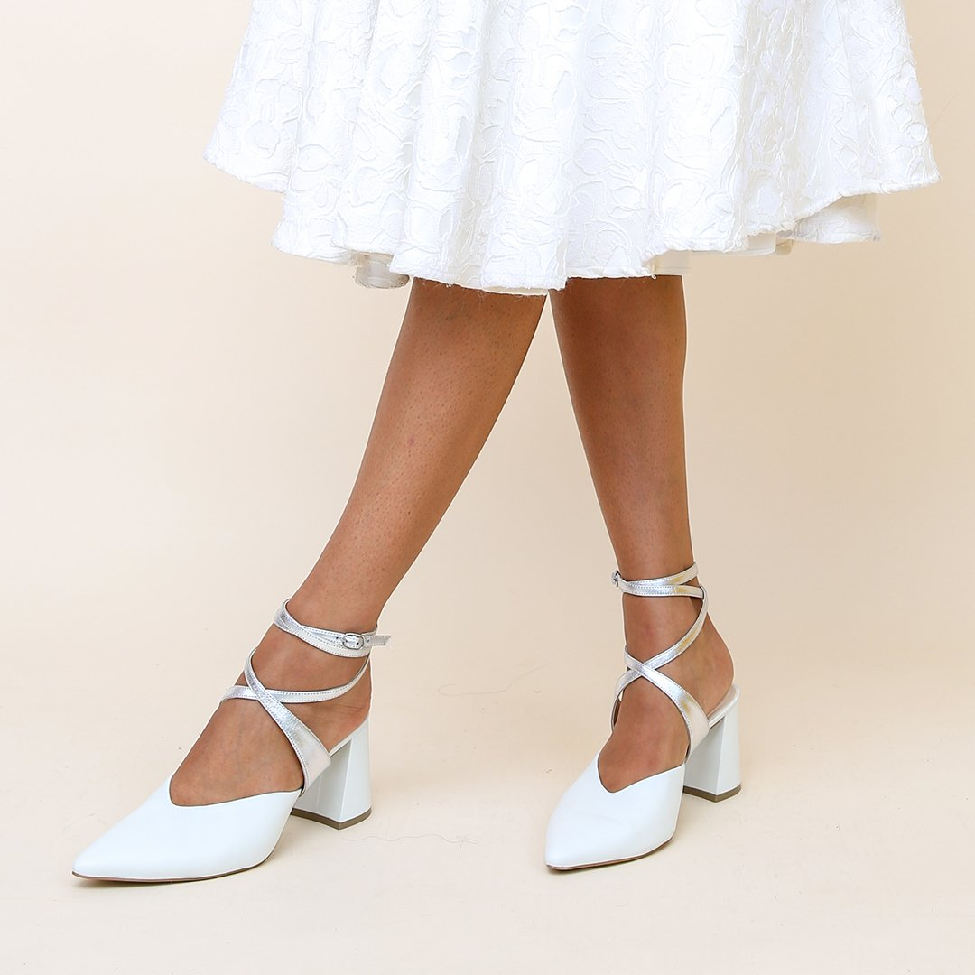 White V Mule + Silver Tomoe Strap  | Alterre Create Your Own Mule - Sustainable Bridal Footwear & Ethical Shoe Company