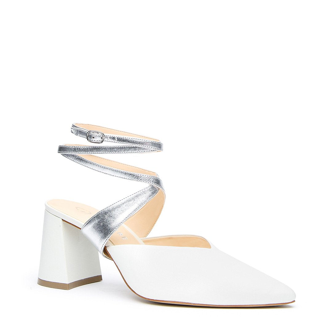 White V Mule + Silver Tomoe Strap - Customized Mules | Alterre Make A Shoe - Sustainable Bridal Shoes & Ethical Footwear