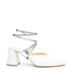 White V Mule + Silver Tomoe Strap - Customizable Mules  | Alterre Interchangeable Mule - Sustainable Bridal Footwear & Ethical Shoes