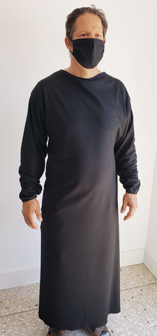 SURGICAL GOWN BLACK M/L WAFFLE FABRIC IN PAK OF 6