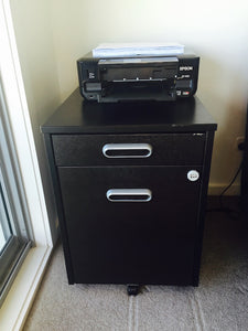 GALANT Drawer unit with drop-file storage, black-brown – Selling