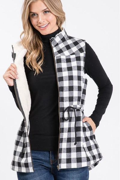 Black & White Buffalo Plaid Curvy Vest