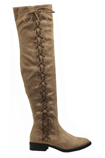 Taupe Over The Knee Side Lace Boot