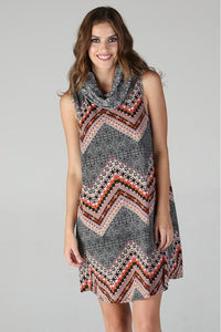 Black Rust Print Turtle Neck Sleeveless Dress