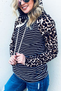 Leopard Stripe Double Hood With Side Zipper Hoodie