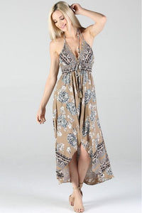 Tan Print Maxi Romper Dress