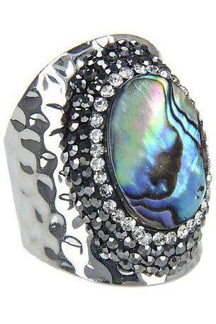 Mother Of Pearl Metal Ring