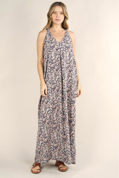 Floral Print Racer Back Maxi Dress