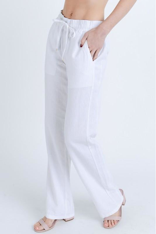 Low Rise Linen Blend Pants
