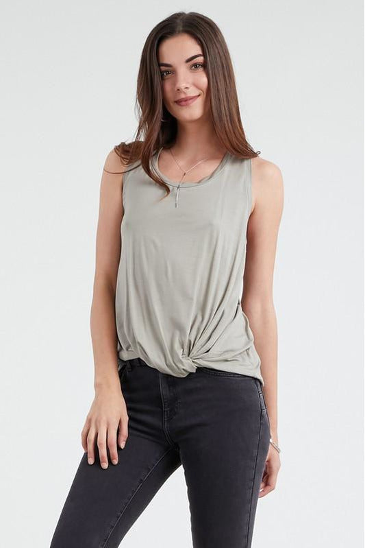 Sage Modal Tie-Knot Front Racerback Tank Top