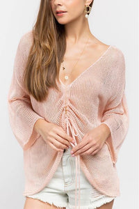 Pink Front tie Sweater