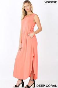 Coral Sleeveless Maxi Dress