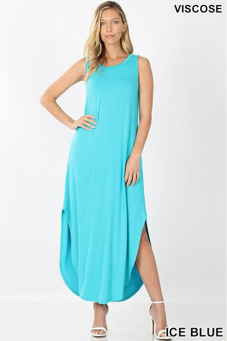 Ice Blue Sleeveless Maxi Dress