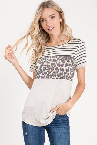 Color Block Leopard V Neck Top