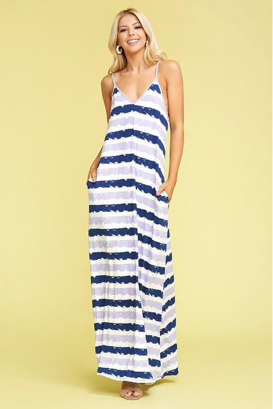 Blue & Lavender Striped Maxi Dress