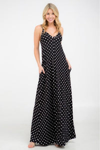 Black & White Polka Dot Maxi Dress