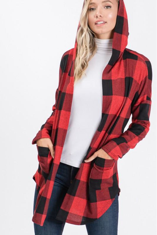 Black & Red Buffalo Plaid Hooded Cardigan