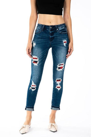 Plaid Patch Kancan Jeans