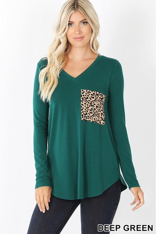 Leopard Pocket V Neck Long Sleeve Top 2 Colors