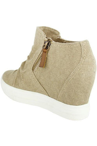 Cream Wedge Sneaker