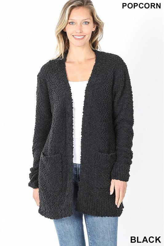 Cozy Soft Hairy Popcorn Cardigan