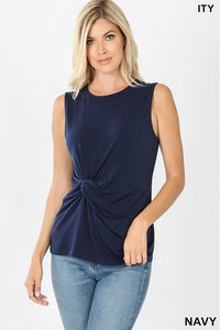 Navy Front Knot Tank Top