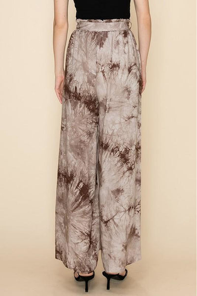 Brown Tie Dye Pants With Leg Slits