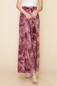 Rose Tie Dye Pants With Leg Slits