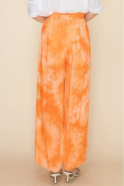 Coral Tie Dye Pants With Leg Slits