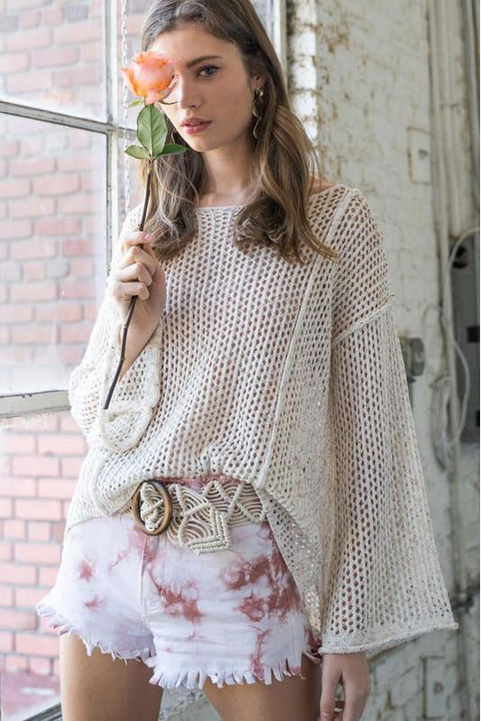 Cream Open Weave Sweater