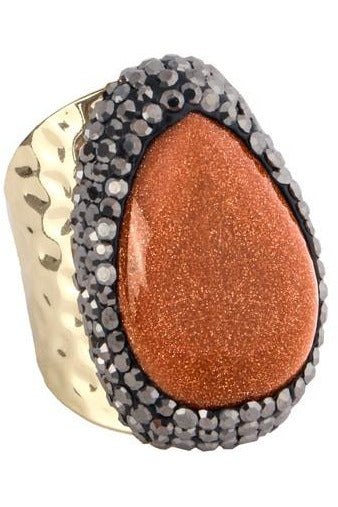 Gold Sand Stone Metal Ring