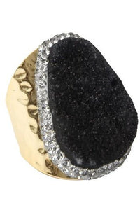 Black Druzy Stone Metal Ring