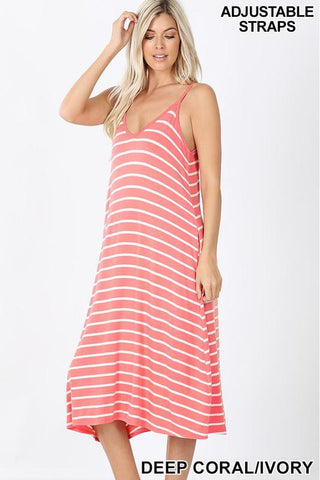 Coral V-Neck Striped Knee Length Dress