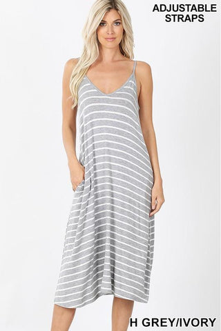 Heather Grey V-Neck Striped Knee Length Dress