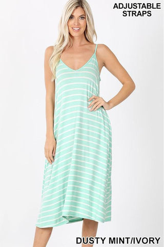 Mint & White V-Neck Striped Knee Length Dress